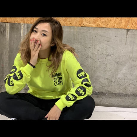 CLAPS STAMP LOGO  L/S TEE  ( NEON YELLOW)