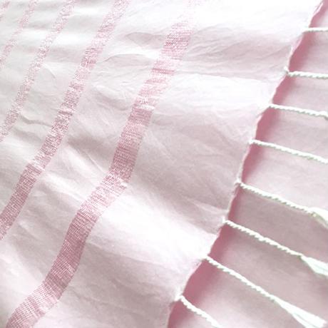 エジプト綿 & シルク 手織り大判ストール【シルクライン柄 ピーチピンク レディース】