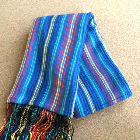 手織りストール  ストライプ柄 シンフォニーブルー