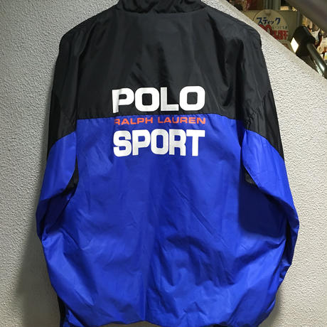 POLO SPORT / 90's Vintage Nylon Windbreaker size : XL BLK/BLU