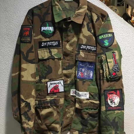 Vintage Band Patch Custom Militarry Jacket size : L/R CAMO