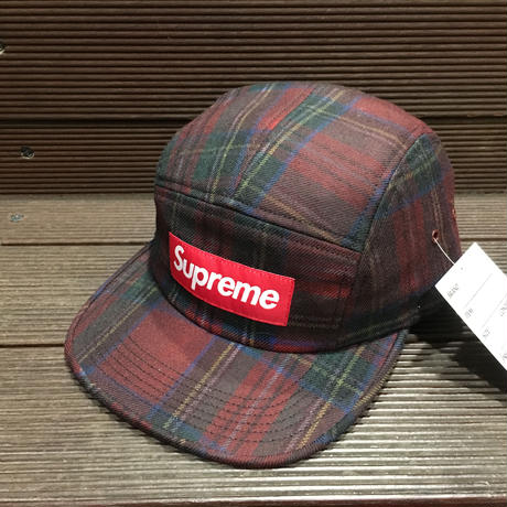 "SUPREME /  Plaid Camp Cap RED ""2016A/W"""