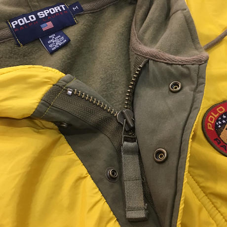 "POLO SPORT / 90's Vintage ""Mountain Patch"" Hooded Nylon Sweat Half Zip size : M YLW/OLV"