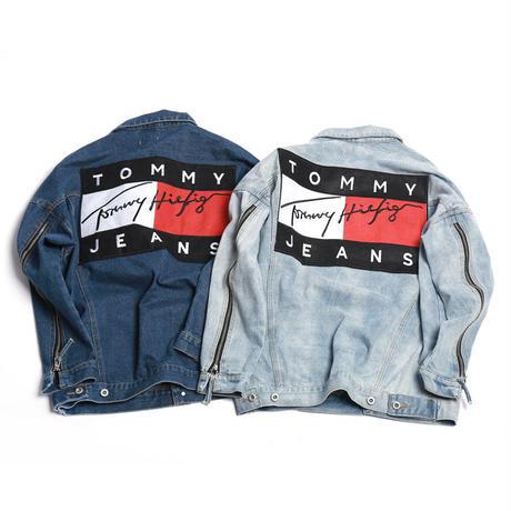 tommy jeans ユニセックスデニムジャケット 男女兼用トップス レジャージャケット tommy hilfiger ジーンズ トミーGジャケット アウター