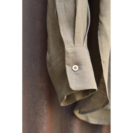 HEMP SHIRTING COMFORT FIT BAND COLLAR SHIRT /  KHAKI
