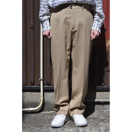 ORGANIC WOOL TROPICAL FLAT FRONT TROUSERS / BEIGE