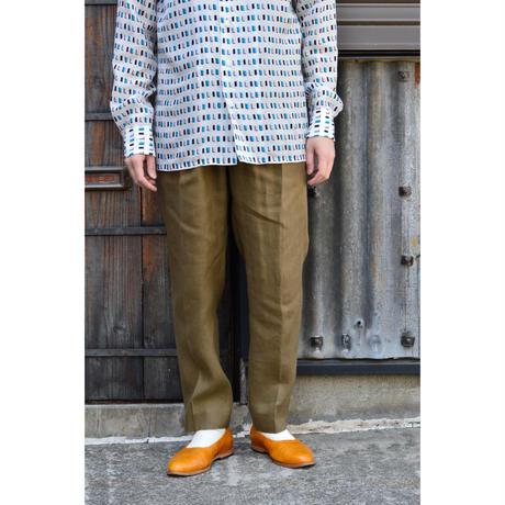 HEMP SHIRTING Pegtop Easy Trousers / KHAKI