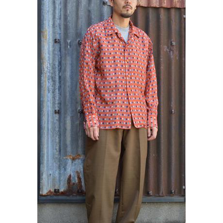 四角柄プリントシャツ / Orange