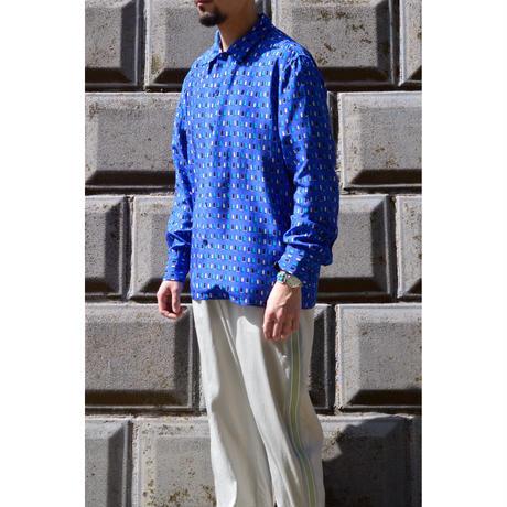 四角柄プリントシャツ / Turquoise-Blue