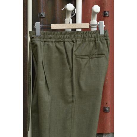 Super 120's Wool Tropical Pegtop Easy Trousers /Khaki
