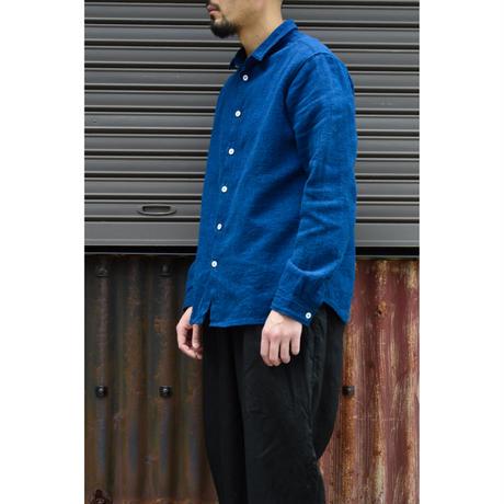 SNチャルカkalaコットンシャツ(草木染)/藍x胡桃