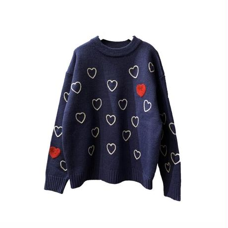 Heartfull Handembroy Knit <Navy>【ChahChah】