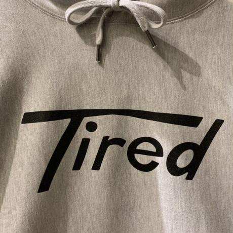 LONG T LOGO PULLOVER HOODIE <heather grey>【TIRED】