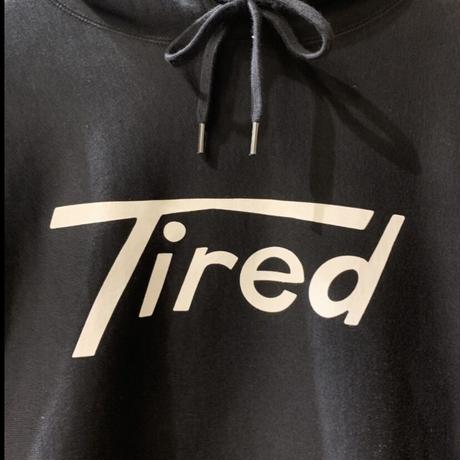 LONG T LOGO PULLOVER HOODIE <black>【TIRED】