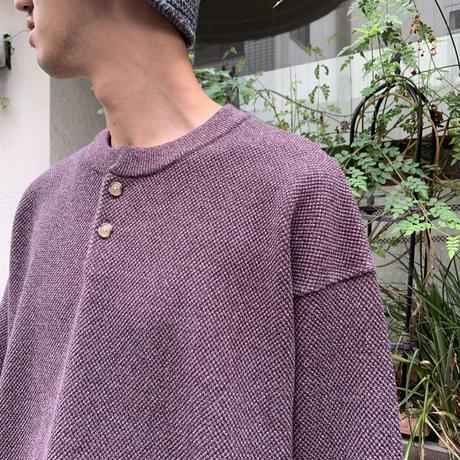 Moss stitch henley neck <burgundy> 【Crepuscule】