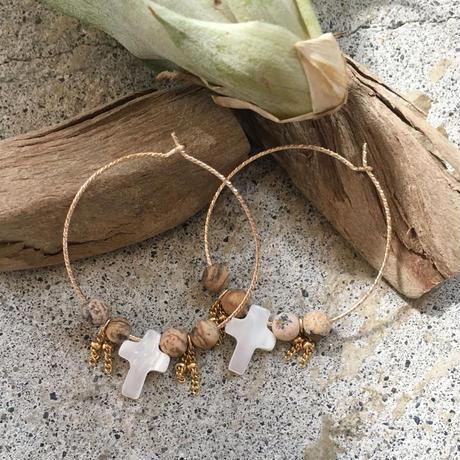 ❈ woodbeads × cross pierce : k14gf ❈
