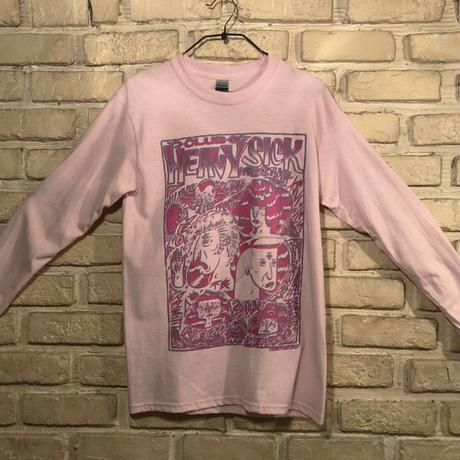 ◆2021 CLUB HEAVY SICK 2色プリント長袖Tシャツ by YASSUTAKA [ライトピンク] Lサイズ◆
