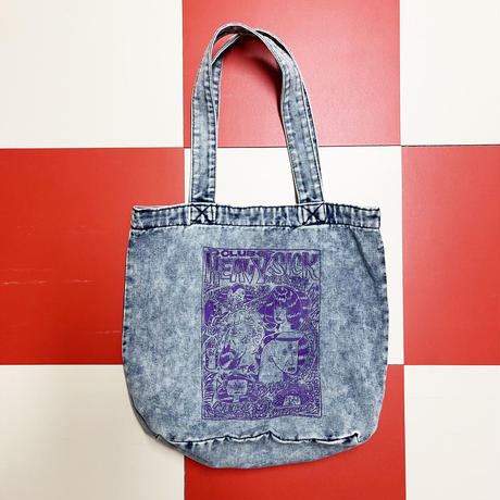 ◆ケミカルウォッシュデニムトートバッグ by YASSUTAKA [インクカラー:パープル]◆