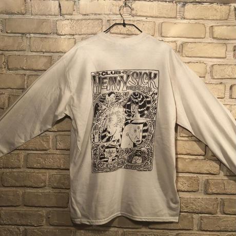 ◆2021 CLUB HEAVY SICK 前後面プリント長袖Tシャツ by YASSUTAKA [ナチュラル] Lサイズ◆