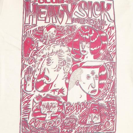 ◆2021 CLUB HEAVY SICK 2色プリント半袖Tシャツ by YASSUTAKA [ホワイト] Lサイズ◆