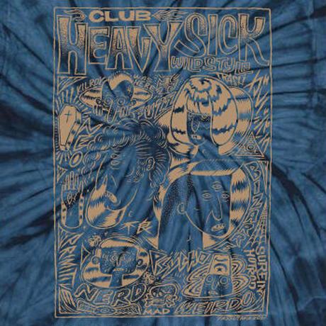 ◆2021 CLUB HEAVY SICK 半袖タイダイTシャツ by YASSUTAKA [ネイビー × 金ラメ]◆