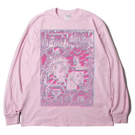 ◆2021 CLUB HEAVY SICK 2色プリント長袖Tシャツ by YASSUTAKA [ライトピンク]◆