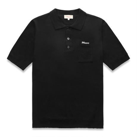 Manors Knitted Polo – Jet Black