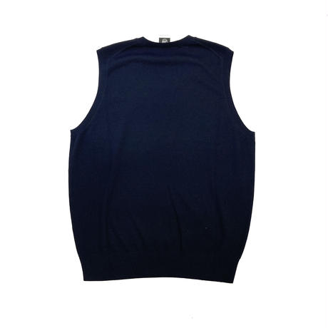 Wedgehog Wool Vneck Vest-Navy