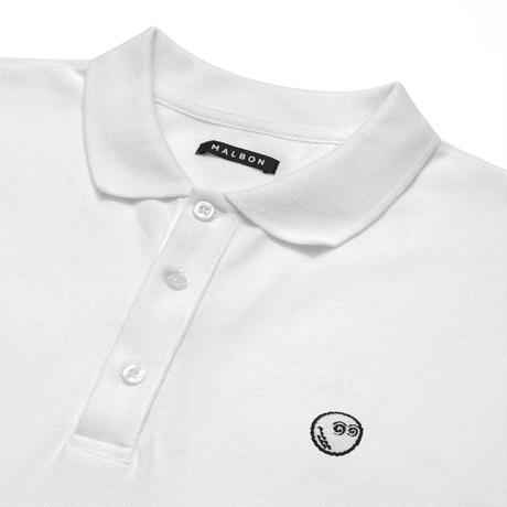Malbon Golf THE BUCKETS LOGO PIQUE POLO WHITE