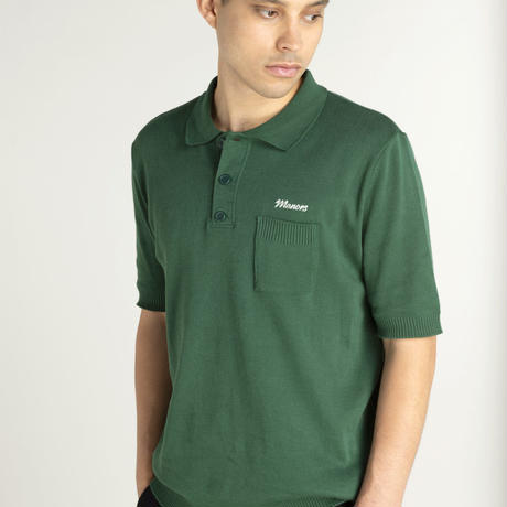 Manors Knitted Polo – Forest Green