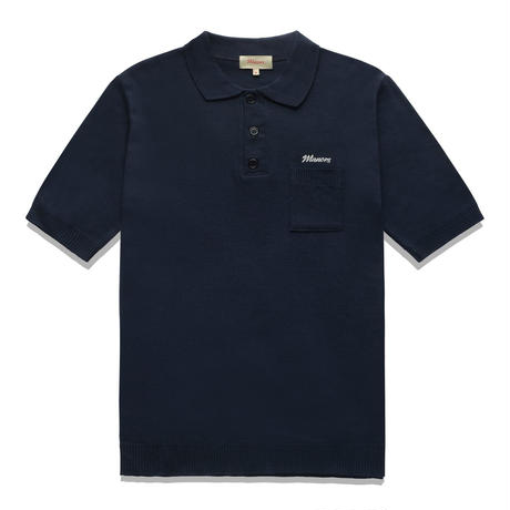 Manors Knitted Polo – Navy