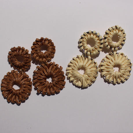 2連circle rattan pierce #brown