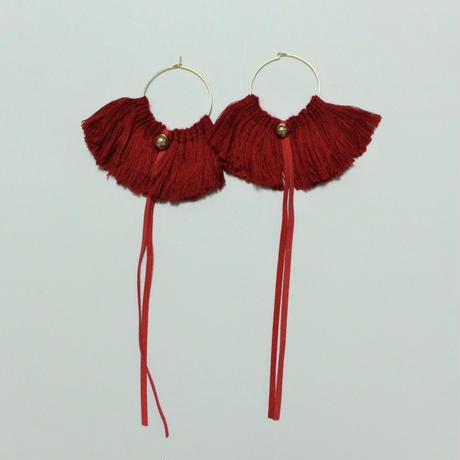 fringe hoop ear accessory #red