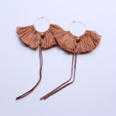fringe hoop ear accessory #light brown