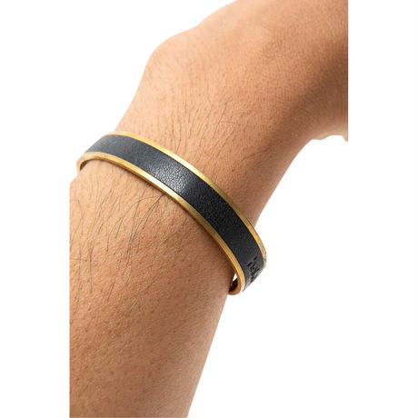 """hobo ホーボー """"BRASS BRACELET with OILED COW LEATHER S""""バングル"""