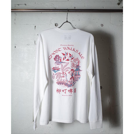 "TACOMA FUJI RECORDS タコマフジレコード ""GHOST WALKS ALE LS shirt designed by Jerry UKAI"""