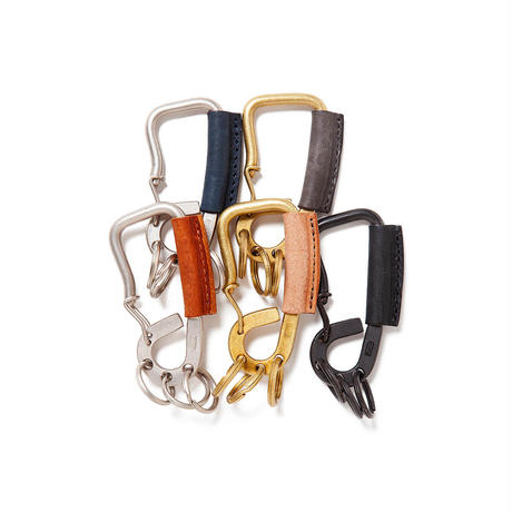 hobo  / BRASS CARABINER KEY RING with OILED COW LEATHER