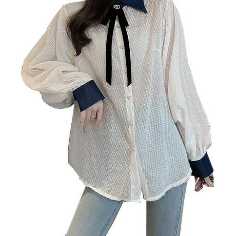 【在庫セール】バイカラーシャツブラウスIPFT0003