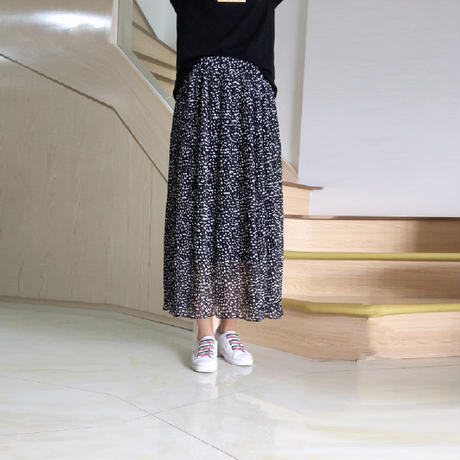 【韓国ファッション スカート】シフォン素材レオパード柄 ロングスカート