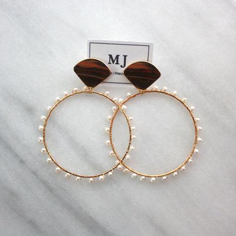 Gold pearl hoop01