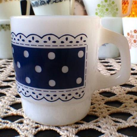 Lace dot Mug (Blue)
