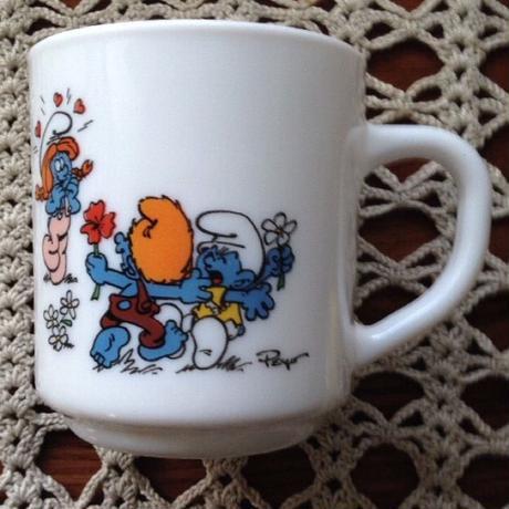 Vintage・Smurf Milkglass Mug '1991