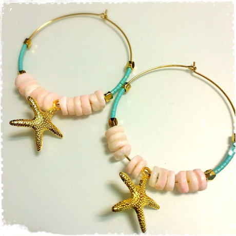 pink shell & starfish pierce