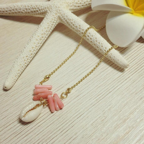 shell & pink coral necklace