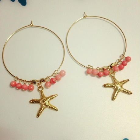 pink coral & starfish pierce