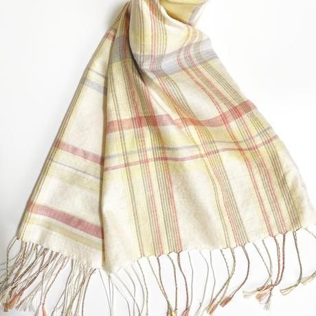 手織りスカーフ  刈安・インド茜・ログウッド