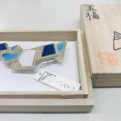 五福・色絵陶器の帯留「パッチワーク」
