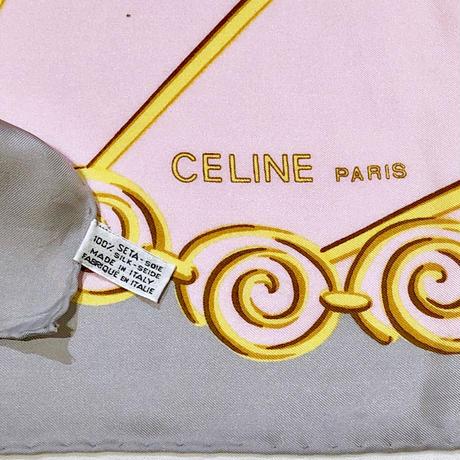 """CELINE""ピンク×グレーSILKスカーフ(1980s France)"