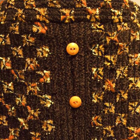 """ cocotier "" 茶xオレンジWOOLスカート(1960s Italy Deadstock 生地製)"
