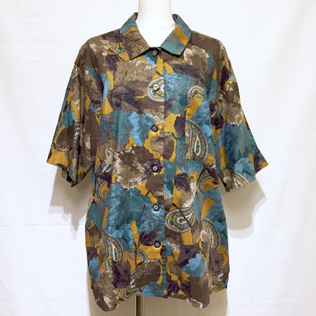 アースカラー・ボタニカル半袖シャツ(1980s Italy デッドストック
